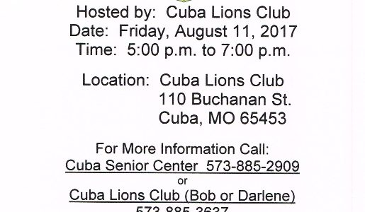 Cuba Benefit Dinner at Cuba Lion's Club